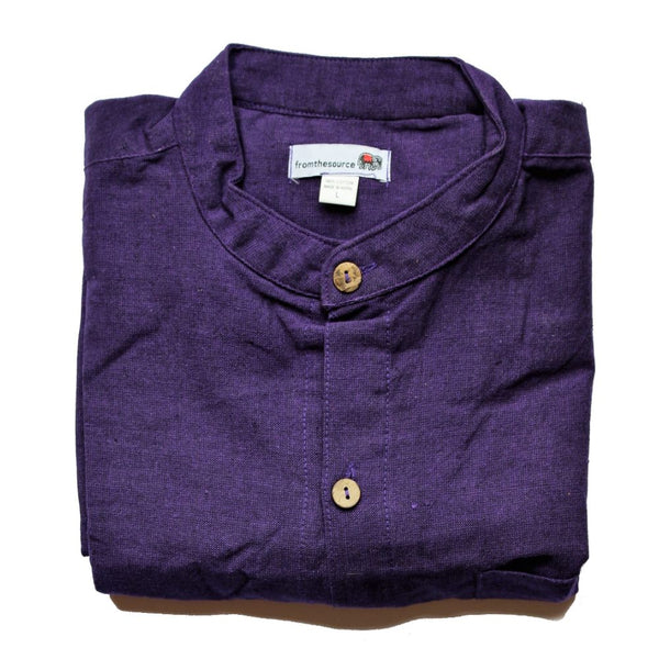 fair trade purple grandad collar shirt made in Nepal
