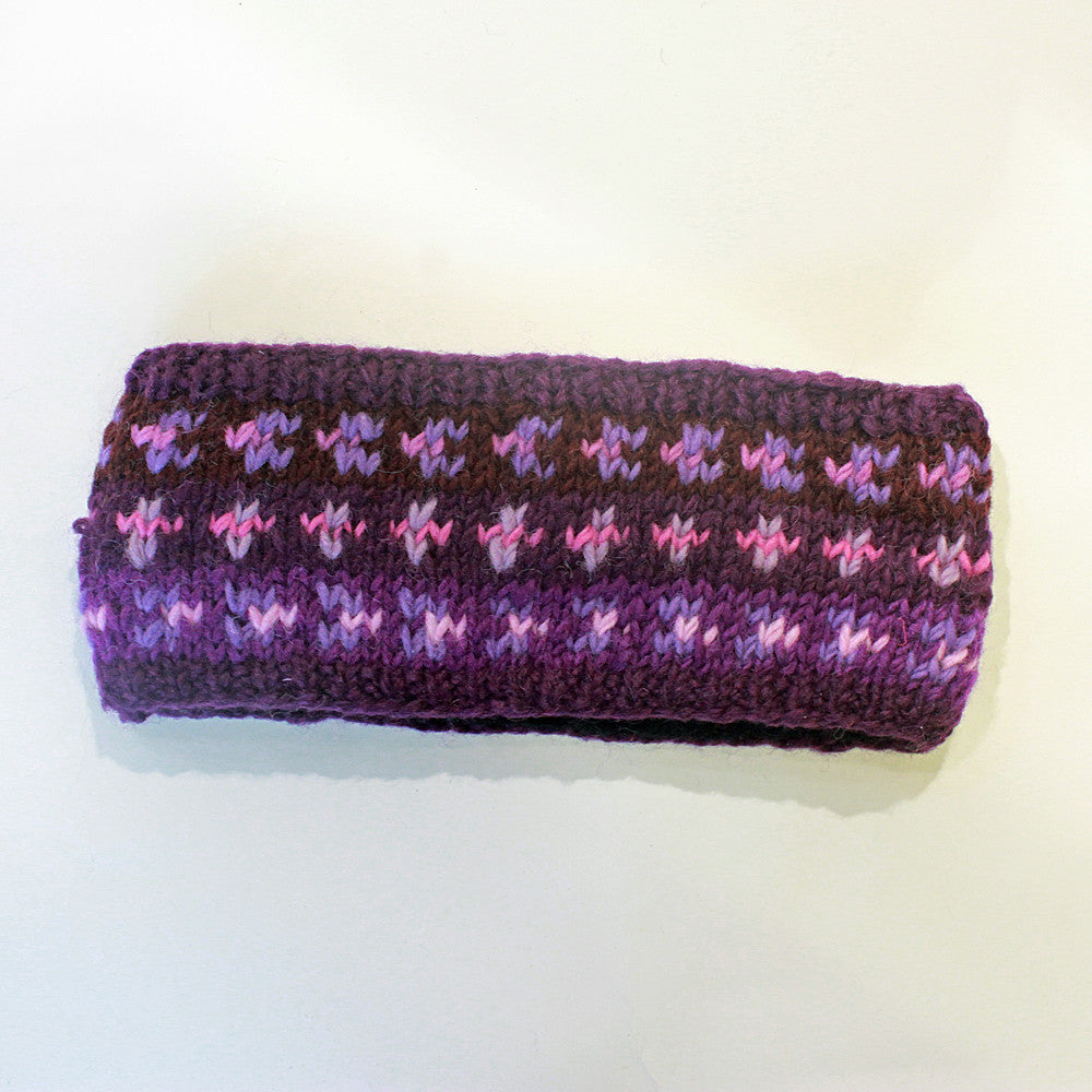 purple nordic knit wool headband