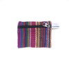 fair trade pink multi colourful striped gehri cotton coin purse from Nepal