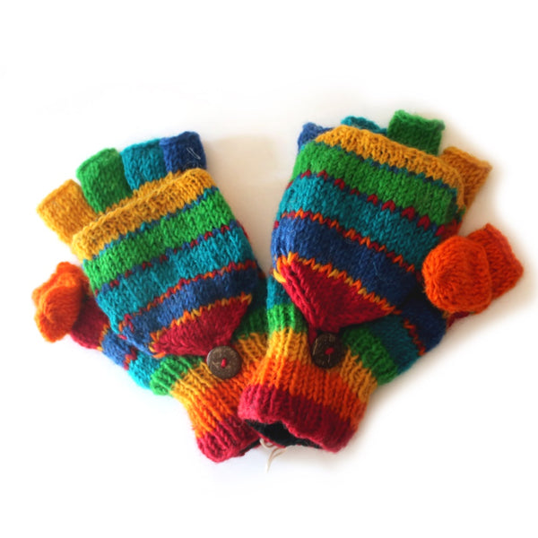 rainbow stripe nordic knit wool gloves with mitten flap