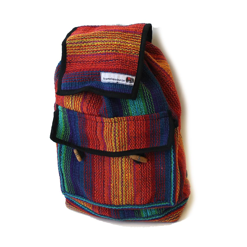 rainbow fair trade mini rucksack made in Nepal