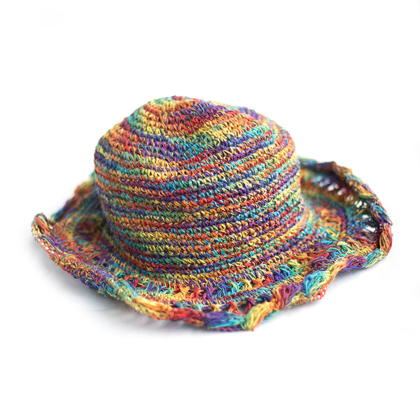 fair trade rainbow sun hat with crochet rim detailing made in Nepal