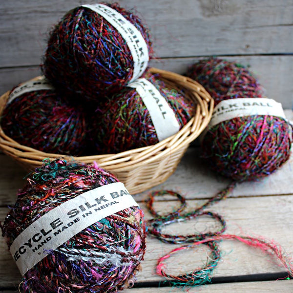 multiple balls silk yarn