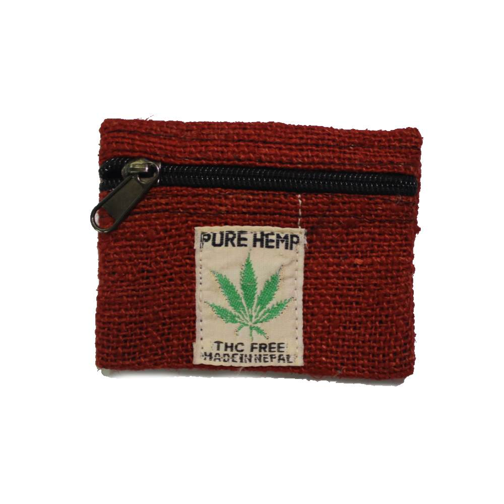 red hemp coin purse