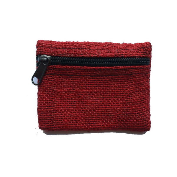 hemp coin purse in red