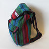 fair trade mini rucksack in red and turquoise