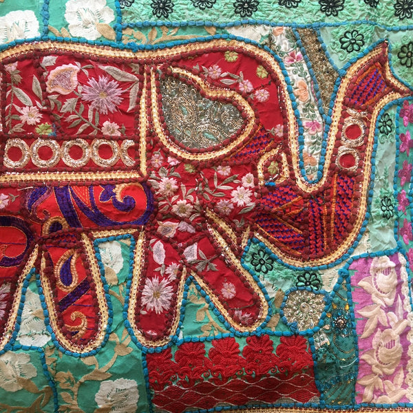 indian embroidered elephant wall hangings