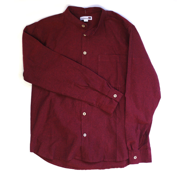 red & black men's grandad shirt