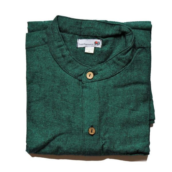 fair trade men's shirt dark green natural sourced from Nepal