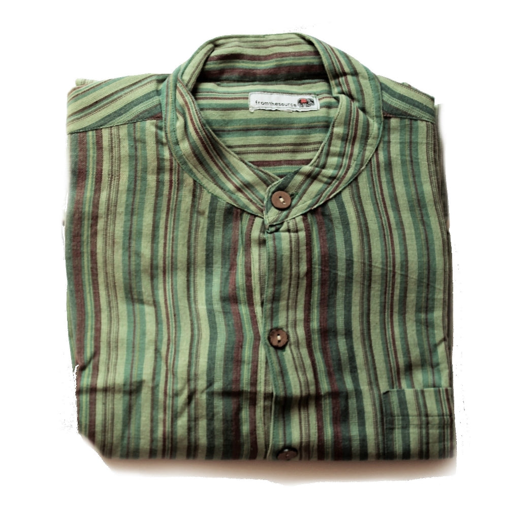 fair trade men's shirt striped green natural sourced from Nepal