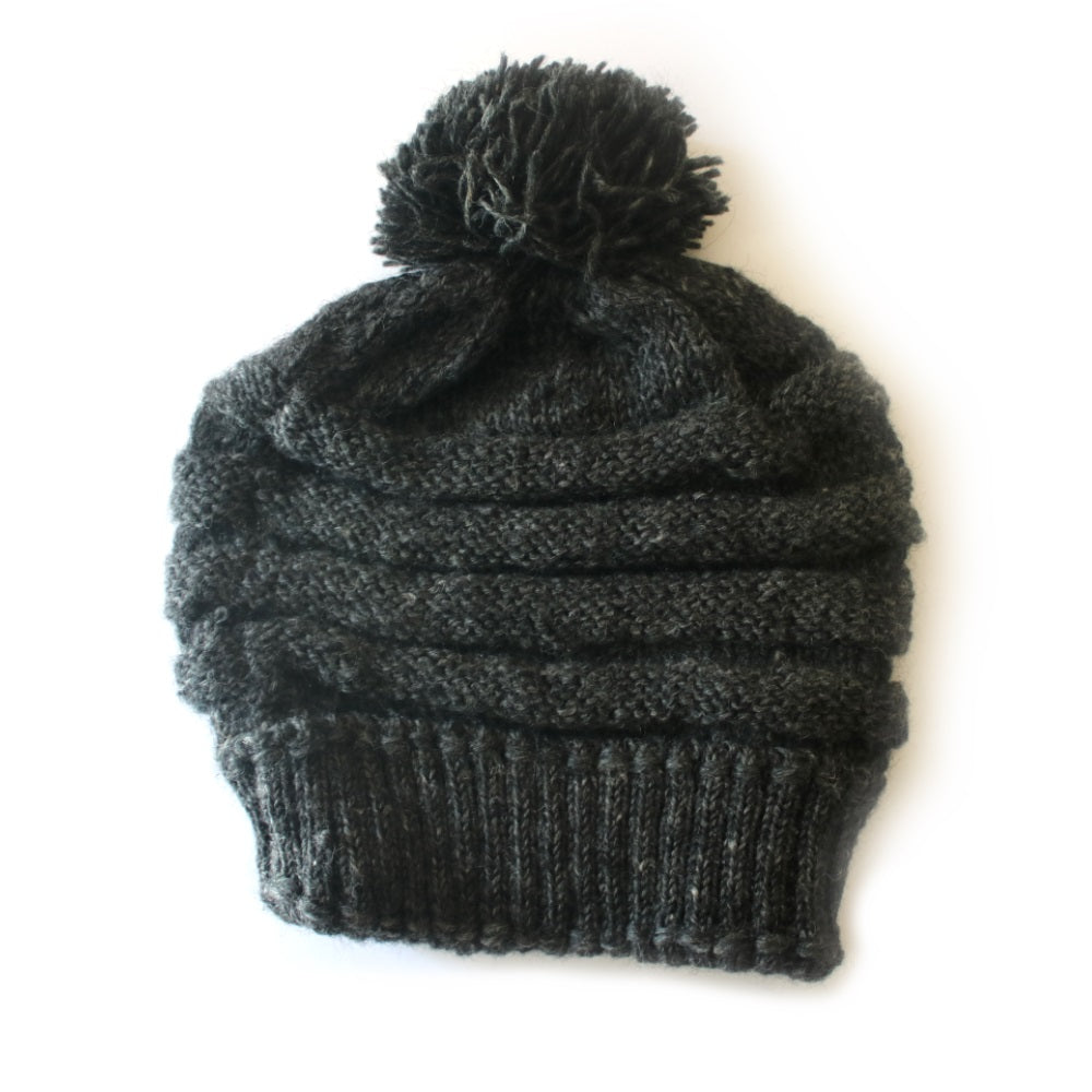 slouchy rib knit wool bobble hat in black