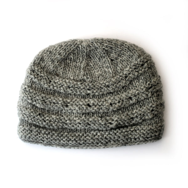 grey rib knit wool beanie hat