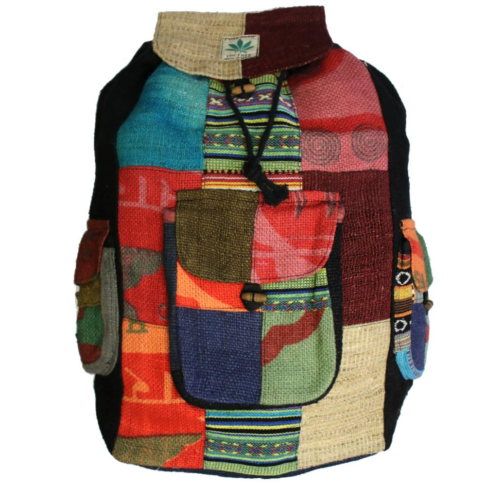 roomy patchwork hemp backpack