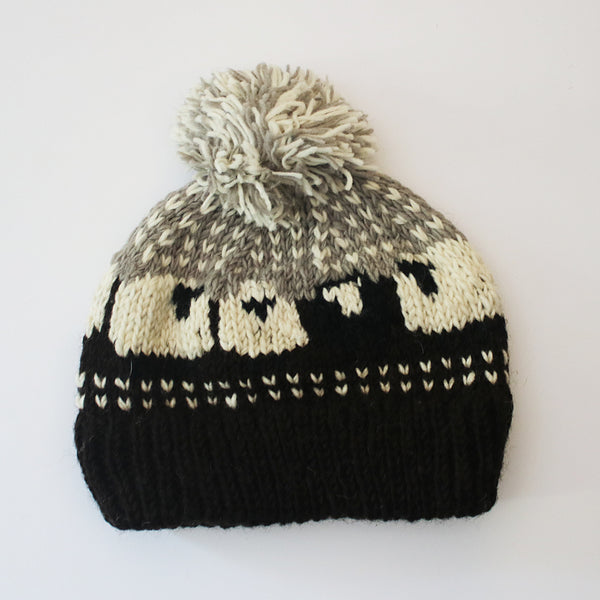 fair trade wool sheep bobble hat in dark brown and grey