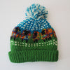 rainbow wool bobble hat in sheep design