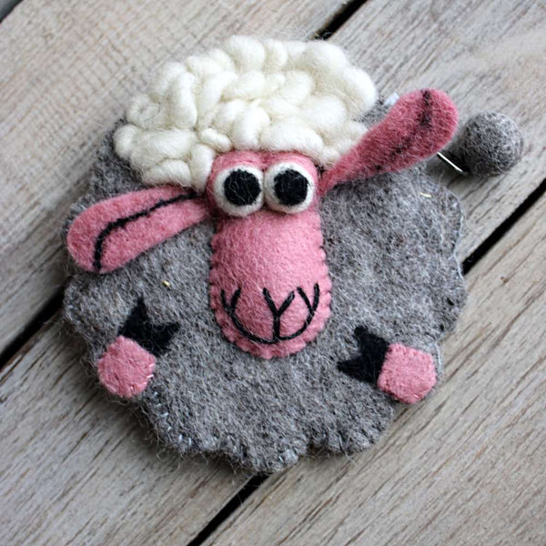 grey fluffy sheep baa purse