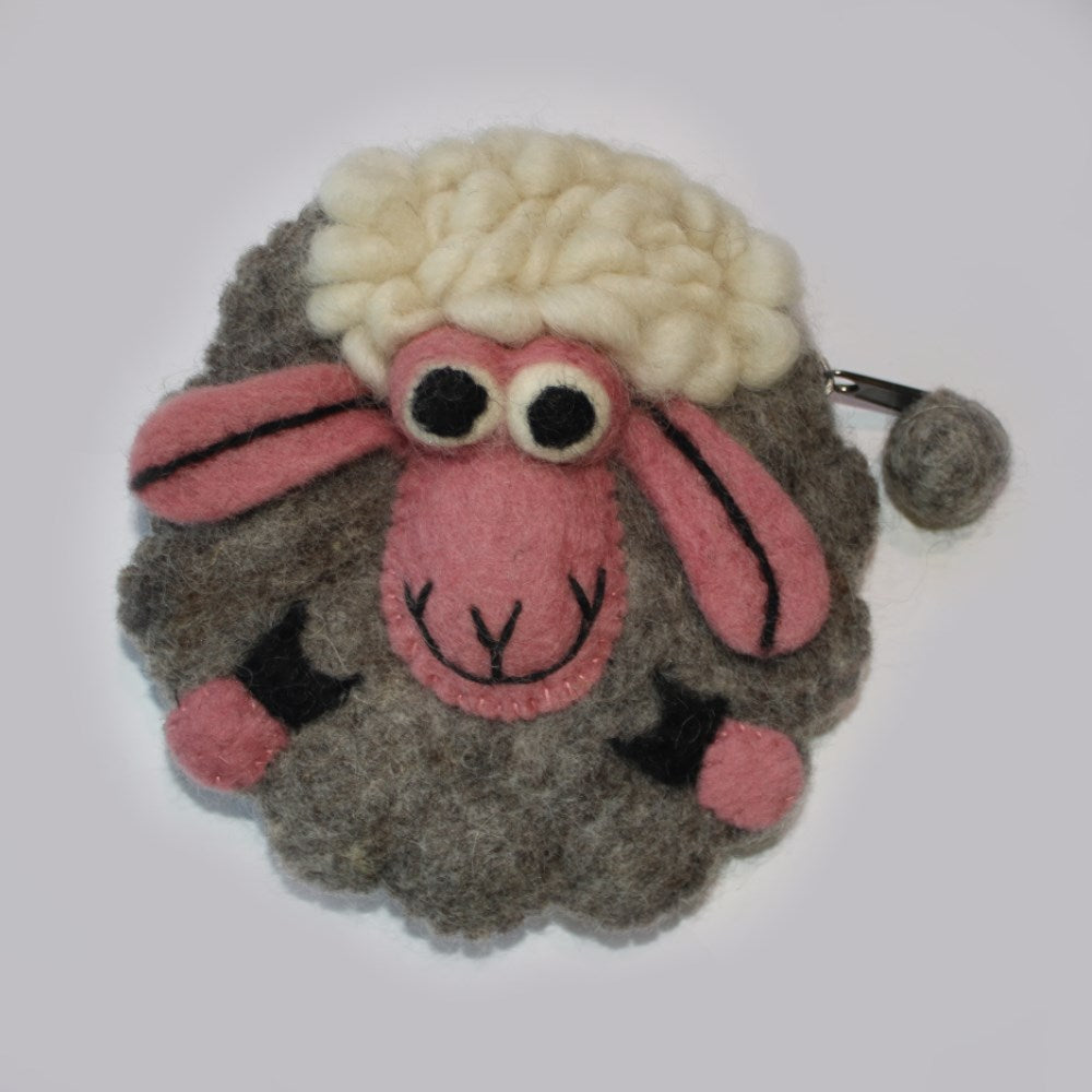 grey felt sheep purse
