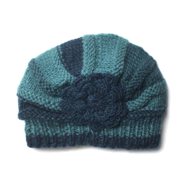 rib knit shell beanie hat in teal green colours