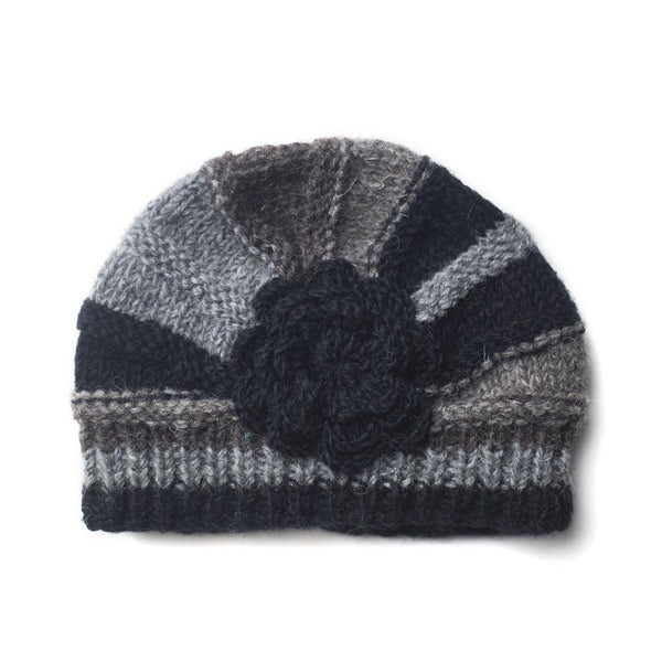 rib knit shell beanie hat in black and charcoal colours