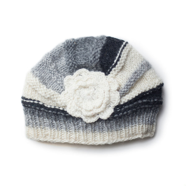 rib knit shell beanie hat in grey colours