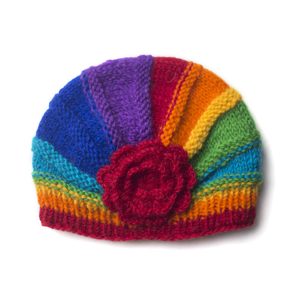 rainbow shell beanie hat with large flower