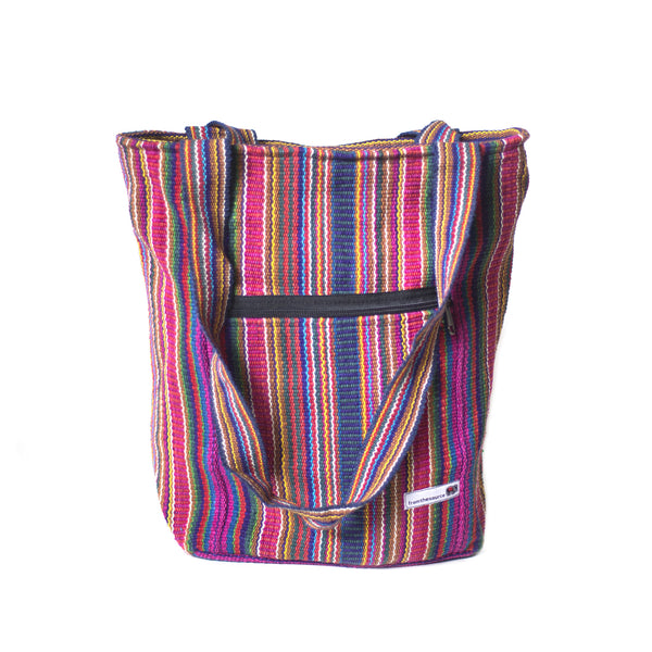 fair trade pink multi colourful striped gehri cotton shopper bag from Nepal
