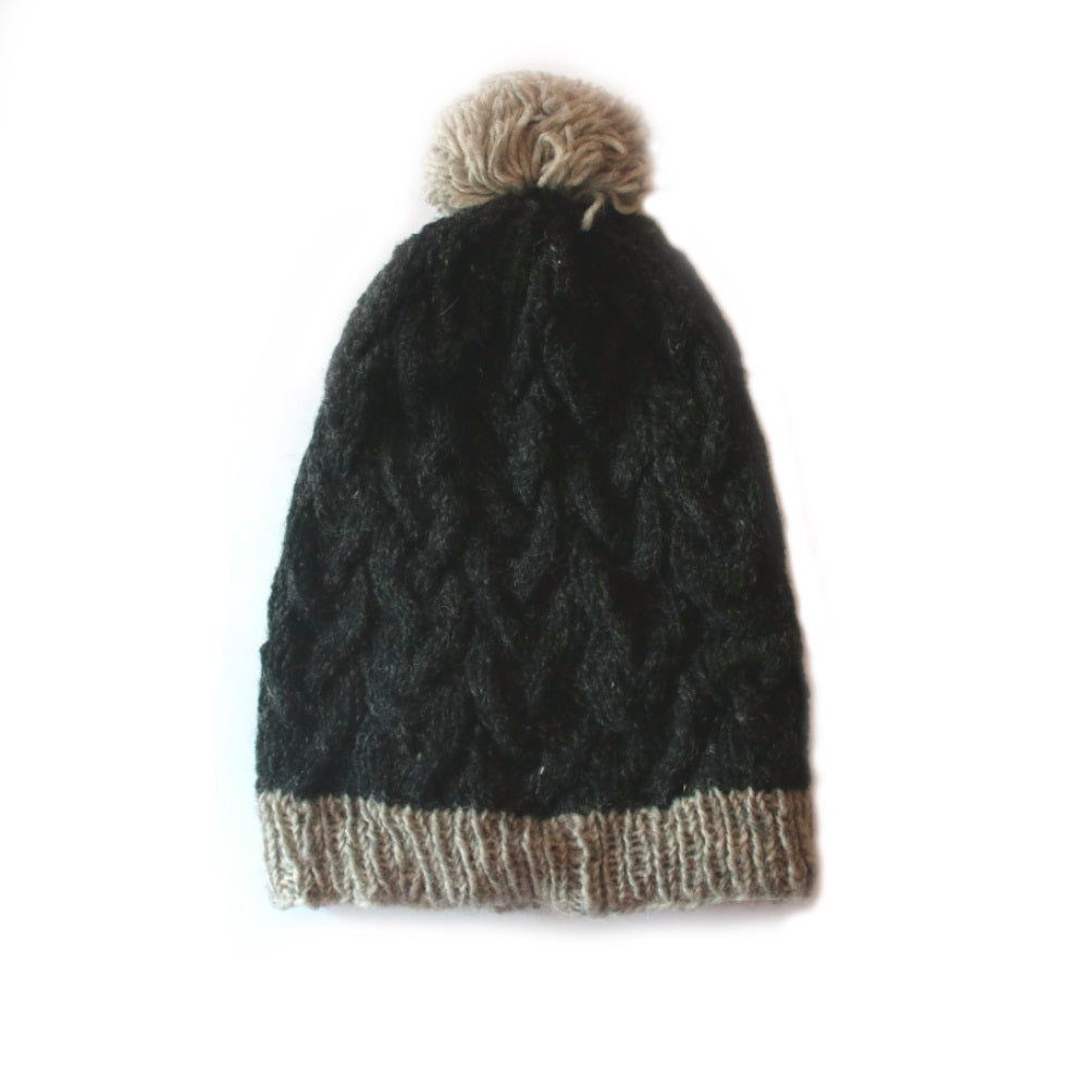 charcoal colour cable knit slouchy bobble hat