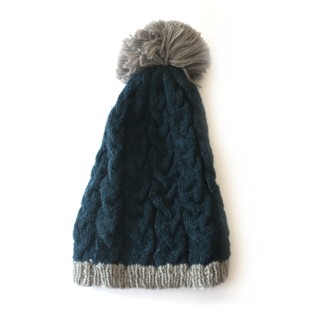 slouchy cable knit bobble hat in teal