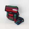 small fair trade shoulder bag in red and turquoise