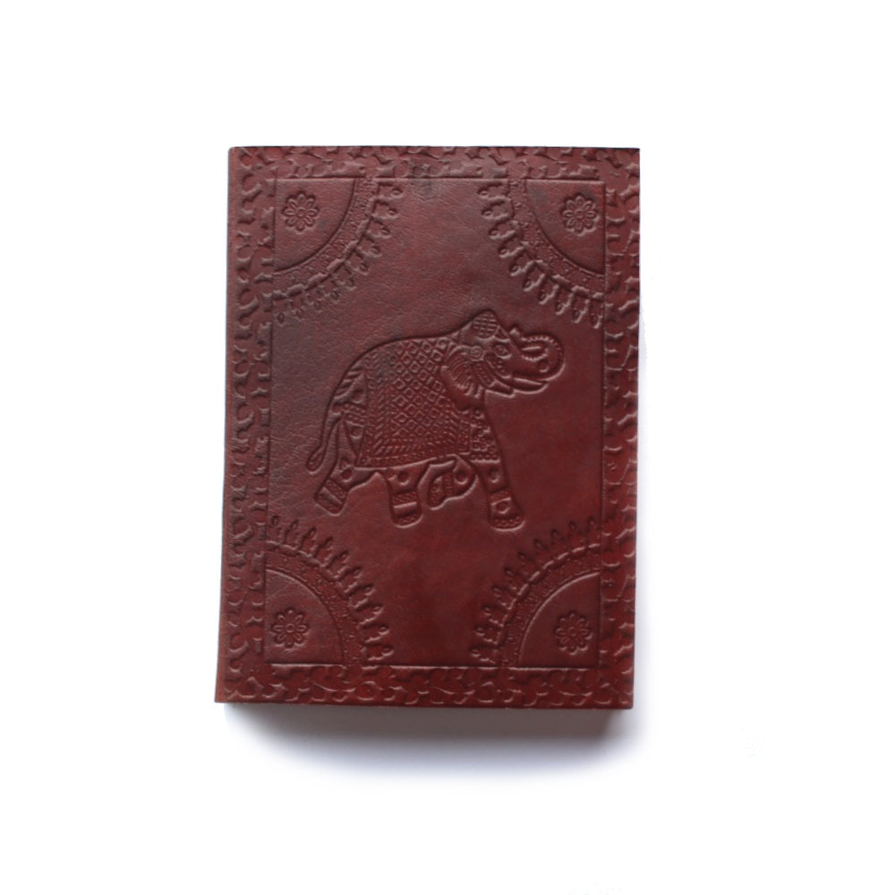 elephant embossed small leather journal