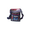 fair trade blue multi colourful striped gehri cotton small shoulder bag from Nepal