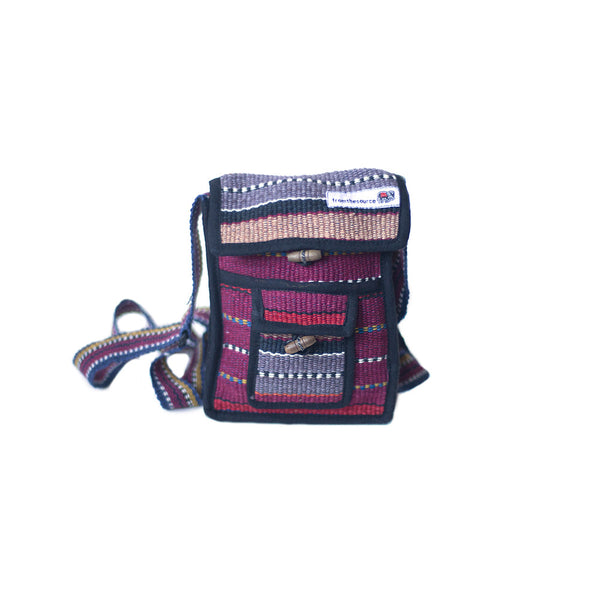 fair trade ember colourful striped gehri cotton small shoulder bag from Nepal