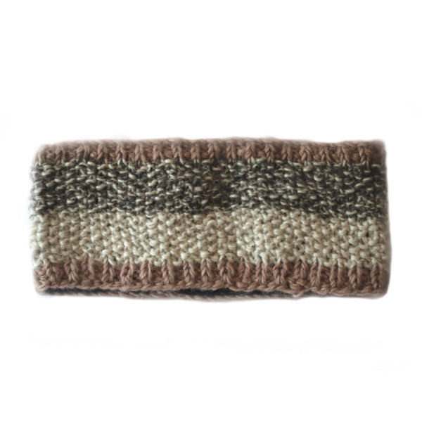 snow headband in abstract knitted wool colours