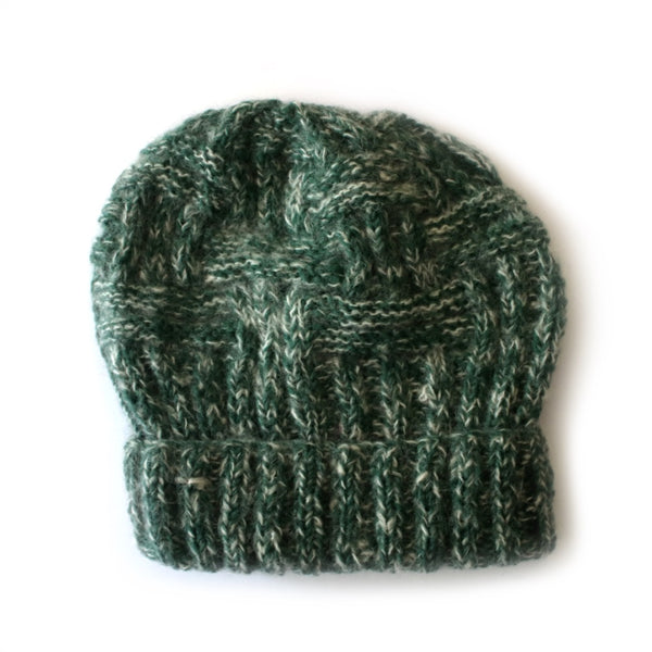 chunky criss cross cable knit winter hat in dark green