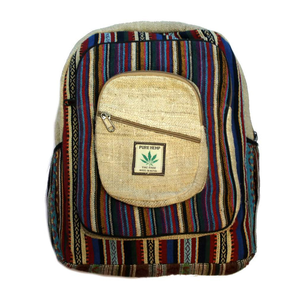 hemp square backpack front view