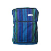 fair trade green purple colourful striped gehri cotton square hippy rucksack from Nepal