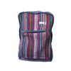 fair trade orange multi colourful striped gehri cotton square hippy rucksack from Nepal