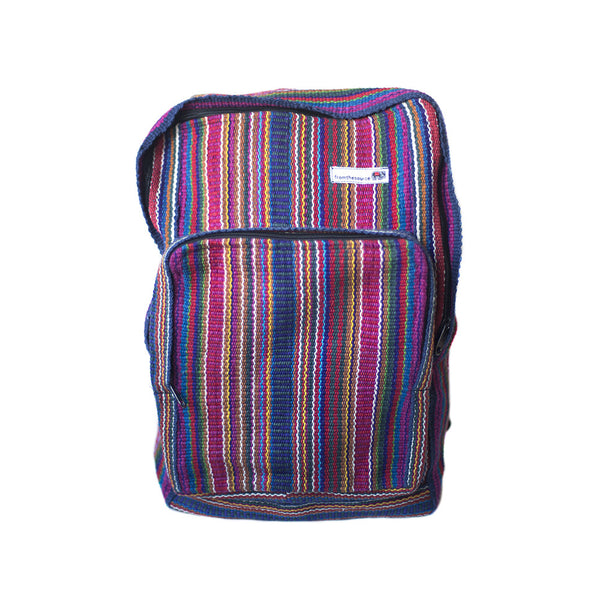 fair trade pink multi colourful striped gehri cotton square hippy rucksack from Nepal