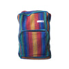 fair trade rainbow colourful striped gehri cotton square hippy rucksack from Nepal