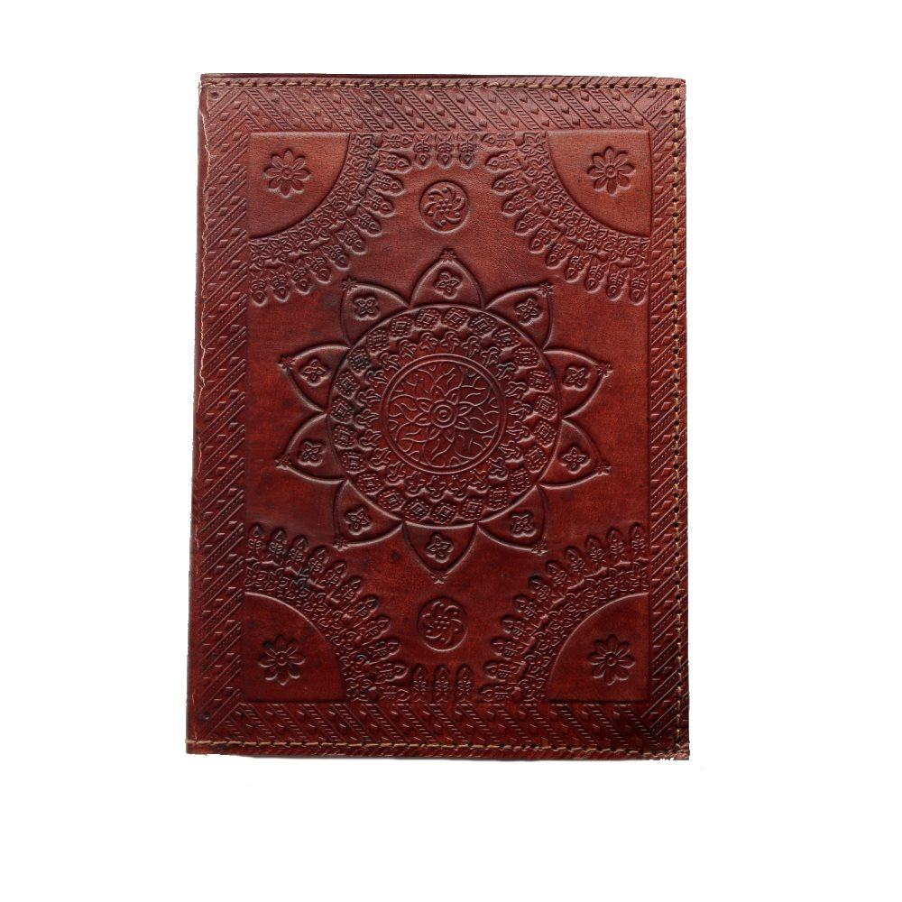 star mandala leather journal top view