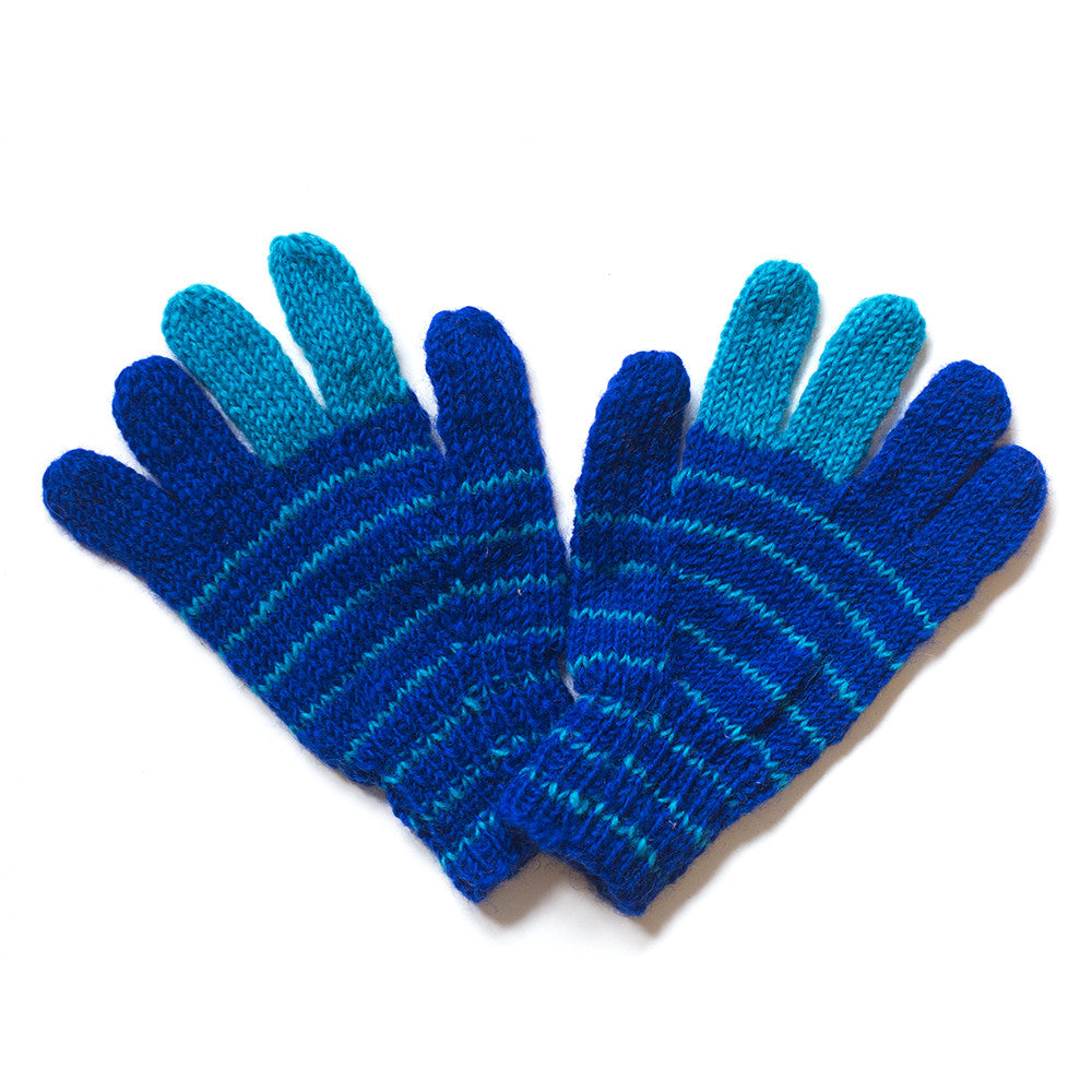 blue and turquoise stripy wool gloves