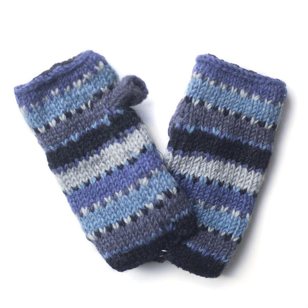 colourful blue striped wool wrist warmers