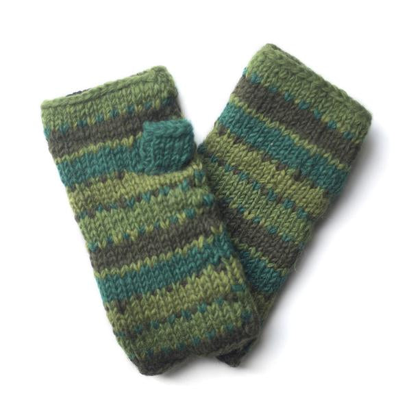 colourful striped wool wrist warmers