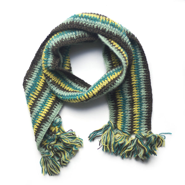 green stripe wool scarf