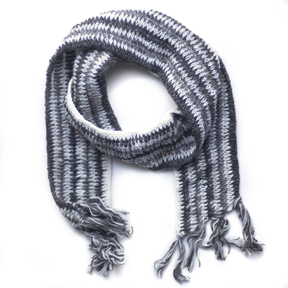 light grey stripe wool scarf