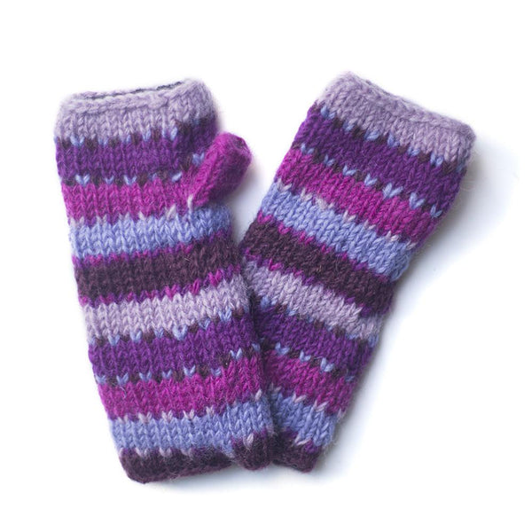 colourful purple striped wool wrist warmers