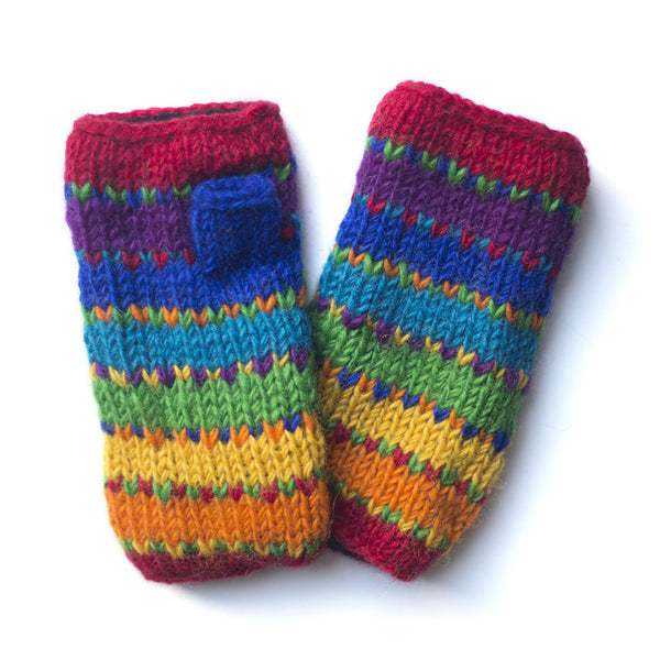 fair trade rainbow stripe wool wristwarmers