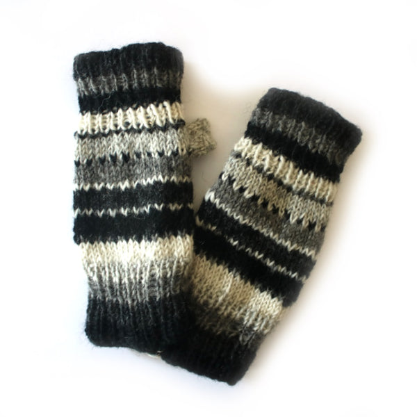 grey striped wool wrist warmers