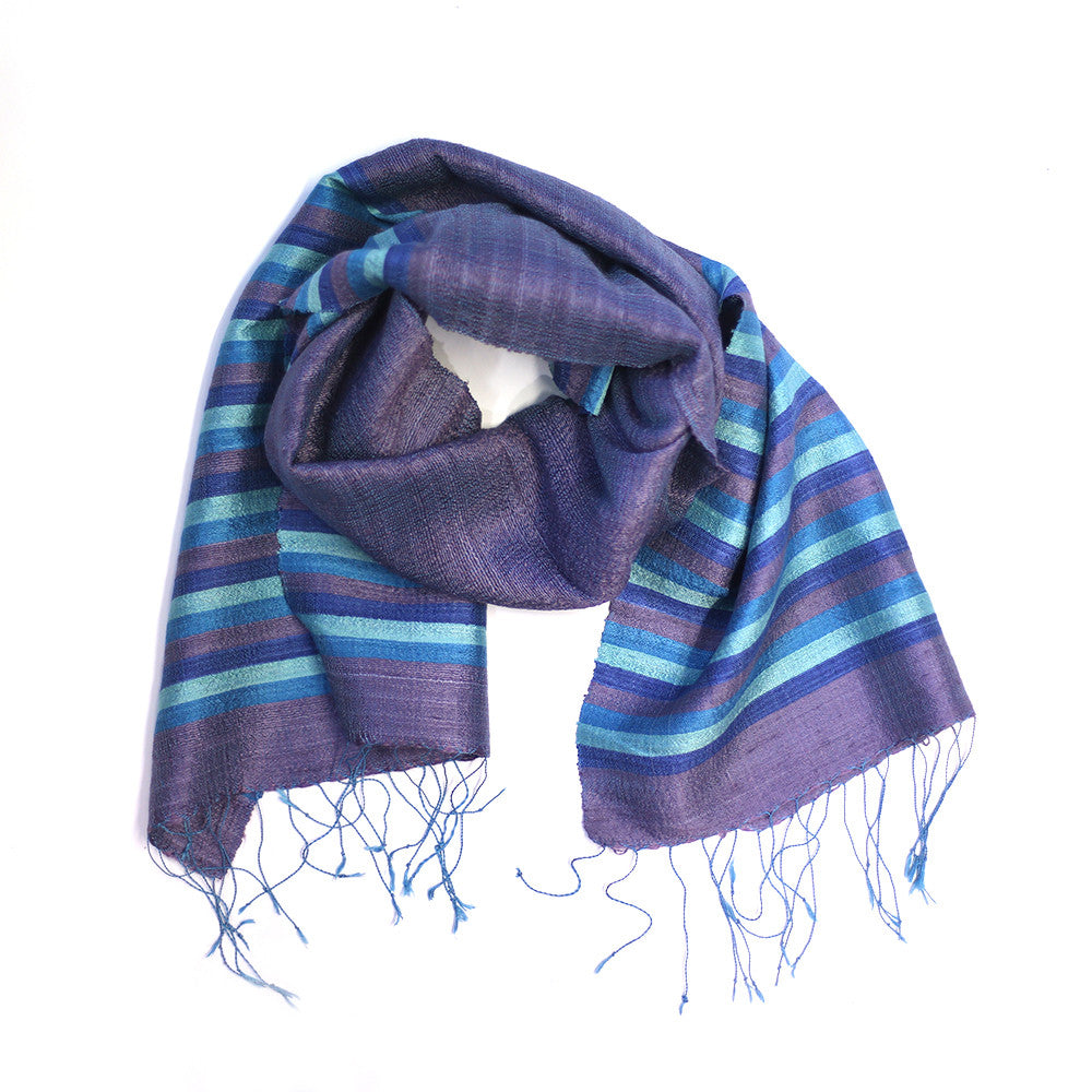 purple multi stripe silk scarf