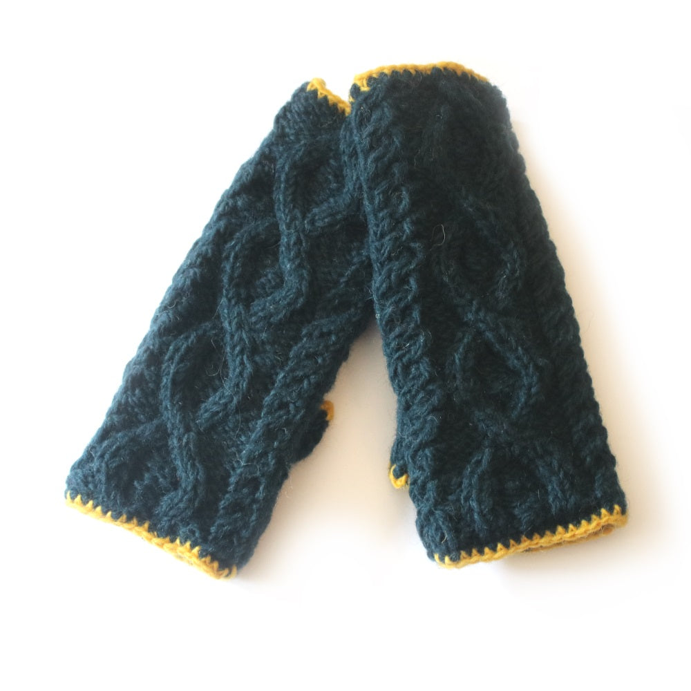 cable knit wool wrist warmers in teal and yellow colours